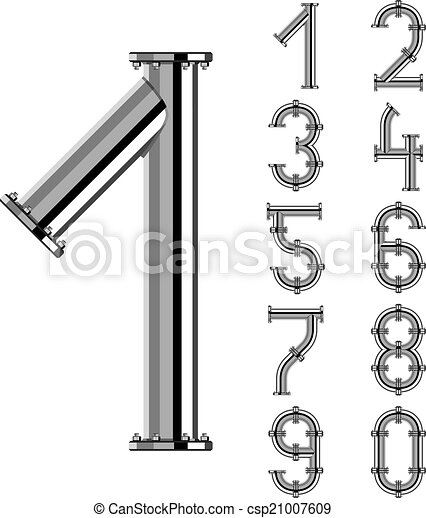 vector chrome pipe alphabet numbers - csp21007609