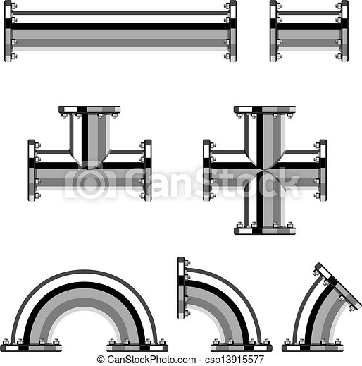 vector chrome pipes with flange rh canstockphoto com victor pipes vector pipeline informational postings