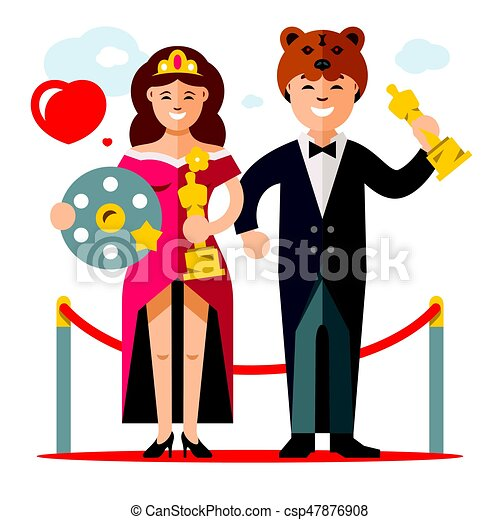 Vector Cinema Award Best Actor And Actress Flat Style Colorful Cartoon Illustration Man In Tuxedo And Woman In Evening
