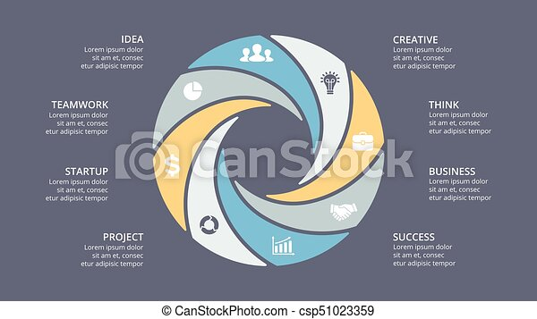 Vector circle arrows infographic, cycle diagram, graph, presentation chart. Business concept with 8 options, parts, steps, processes. - csp51023359