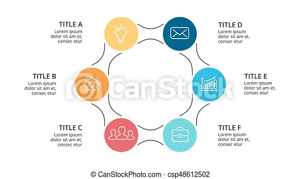Vector circle arrows infographic, cycle diagram, graph, presentation chart. Business concept with 6 options, parts, steps, processes. Slide template. - csp48612502