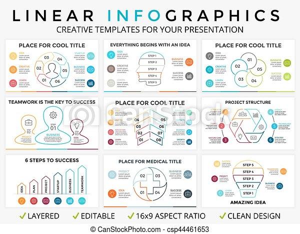 Vector circle arrows linear infographic, cycle diagram, graph, presentation chart - csp44461653