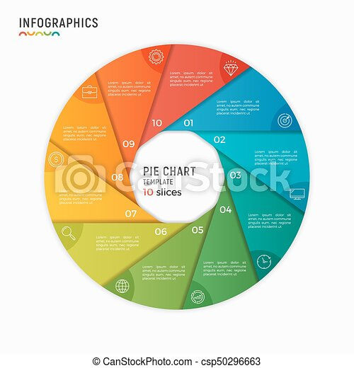 vector circle chart infographic template 10 options steps parts