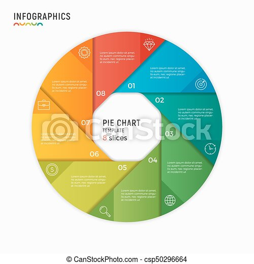 vector circle chart infographic template 8 options steps parts