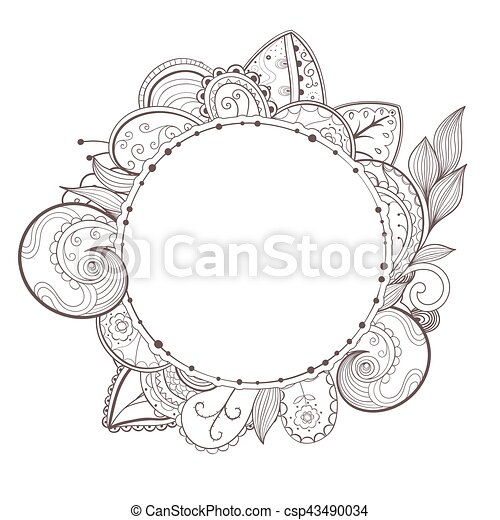 Vector circle floral frame. Vector circle floral frame with place ...