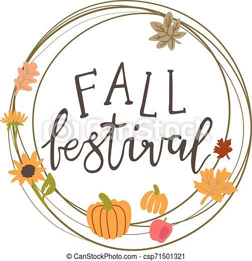 Vector circle frame for a fall festival - csp71501321