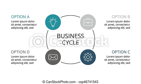 Vector circle infographic, cycle diagram, graph, presentation chart. Business concept with 3 options, parts, steps, processes. - csp46741543