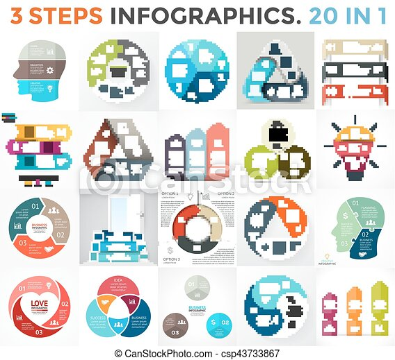 Vector circle infographic set. Business diagram, arrows graph, startup logo presentations, idea pie chart. Data options, 3 parts, steps, processes. Human brain, stairs, eco leaves, heart sign, puzzle. - csp43733867