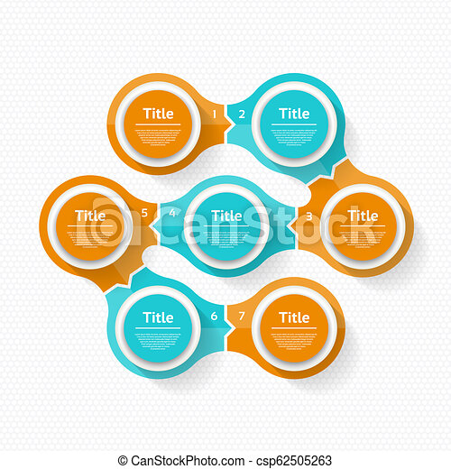 Vector circle infographic. Template for cycle diagram, graph, presentation and round chart. Business concept with 7 options, parts, steps or processes. Abstract background. - csp62505263