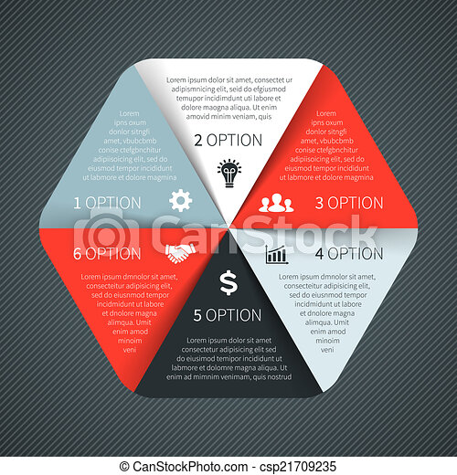 Vector circle infographic. Template for diagram, graph, presentation and chart. Business concept with 6 options, parts, steps or processes. Abstract background. - csp21709235