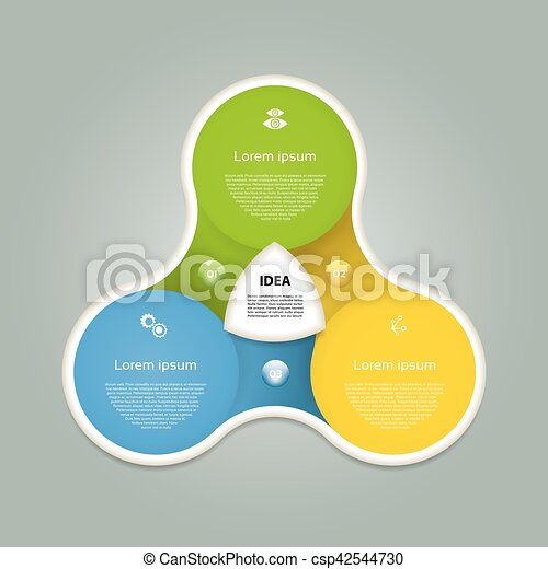 Vector circle infographic. Template for diagram, graph, presentation and chart. Business concept with three options, parts, steps or processes. Abstract background. - csp42544730