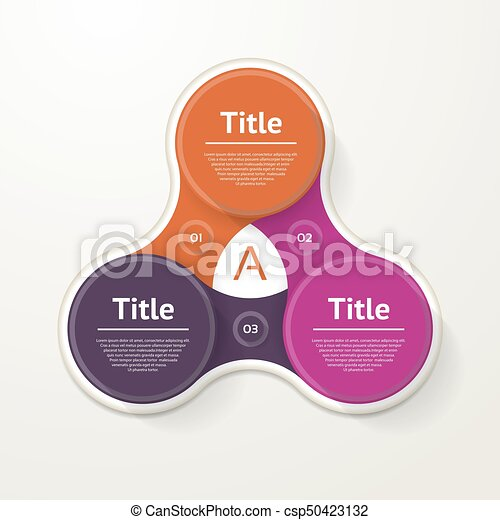Vector circle infographic. Template for diagram, graph, presentation and chart. Business concept with three options, parts, steps or processes. Abstract background. - csp50423132