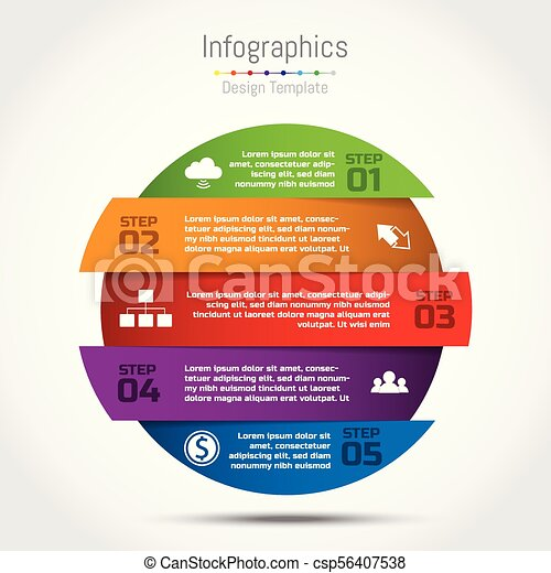 Vector circle infographic template for diagram, graph, presentation and round chart. Business startup concept with 5 options, parts, steps, processes. - csp56407538