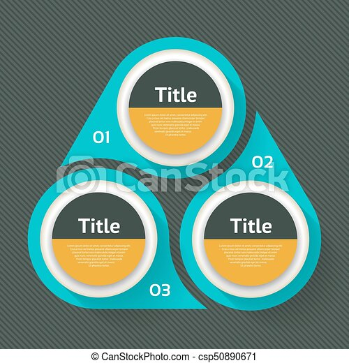Vector circle infographic. Template for diagram, graph, presentation and chart. Business concept with three options, parts, steps or processes. Abstract background. - csp50890671