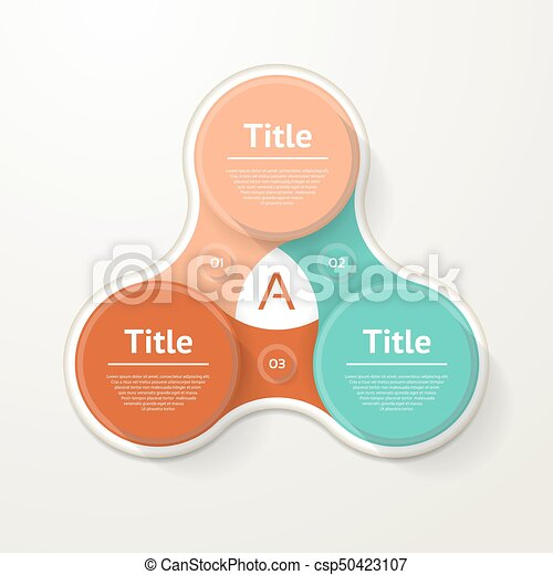 Vector circle infographic. Template for diagram, graph, presentation and chart. Business concept with three options, parts, steps or processes. Abstract background. - csp50423107