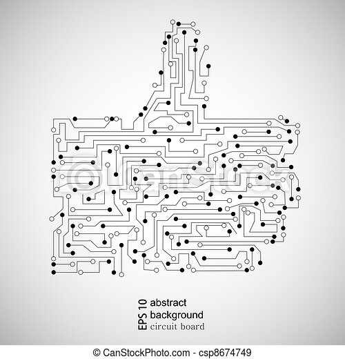 Vector circuit board thumb up. abstract background eps vectors ...