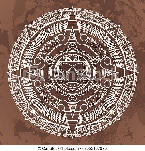 Aztec Calendar Stone.Vector Circular Pattern In The Style Of The Aztec Calendar Stone