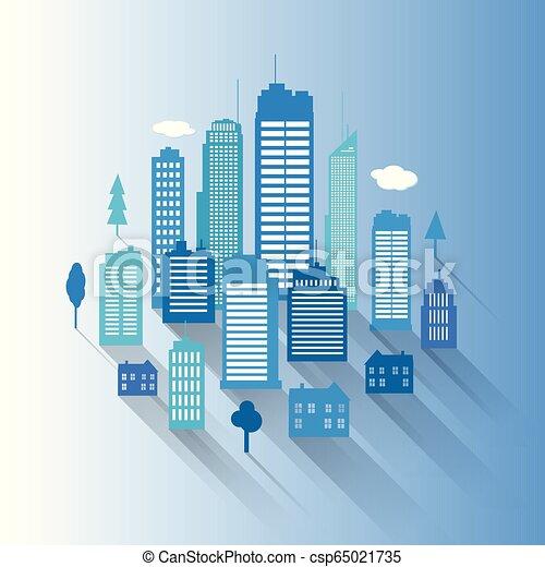 Vector cities blue buidling design - csp65021735