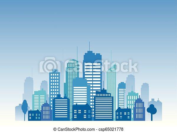 Vector cities blue buidling design - csp65021778