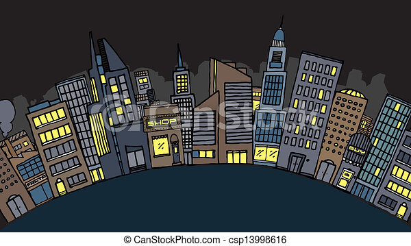 Vector city at night - csp13998616