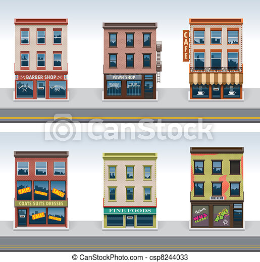 Vector city buildings icon set - csp8244033