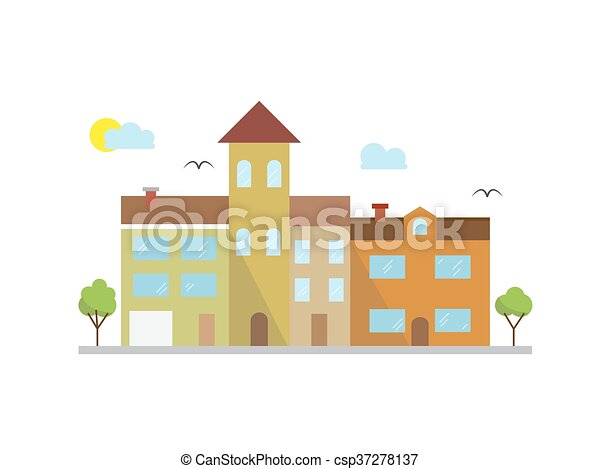 Vector city landscape illustration in linear style - buildings and clouds - graphic line design template - csp37278137