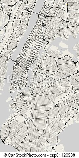 Simple Map Of New York City.Vector City Map Of New York In Black And White