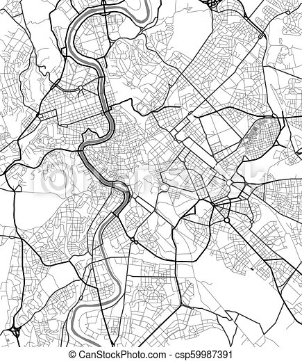 Vector city map of Rome in black and white