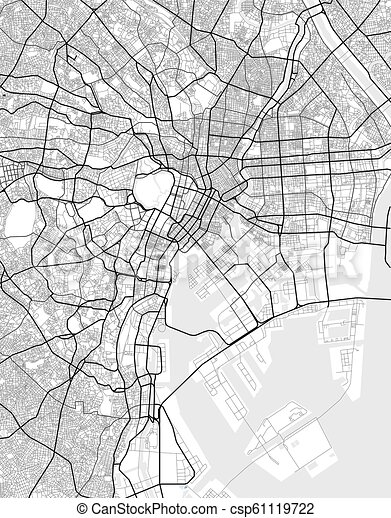 Vector City Map Of Tokyo In Black And White Vector Map Of Tokyo In Black And White City Map Simple Style Canstock
