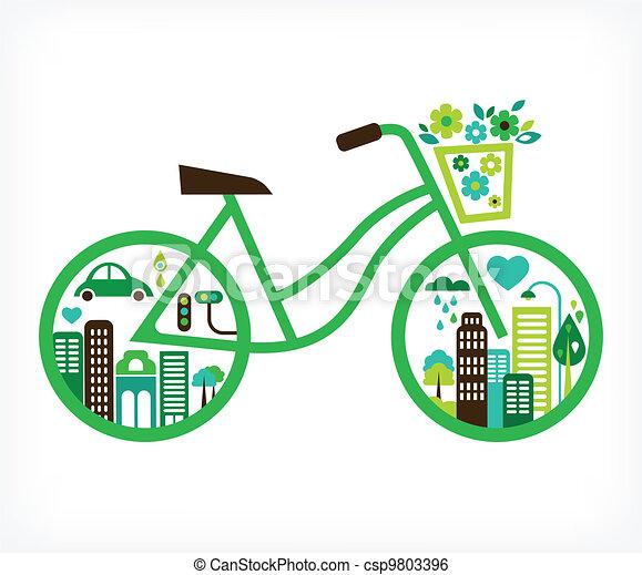Bicicleta con ciudad verde, vector - csp9803396