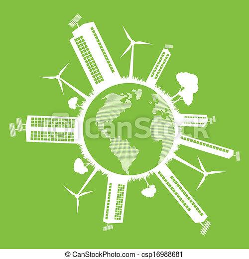 Green Eco City vector ecológico concepto de fondo - csp16988681