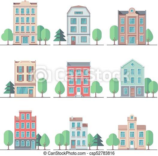 Vector, ciudad, edificios, apartamento, vendimia, houses., conjunto ...