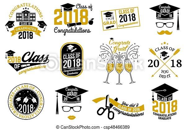 Vector Class of 2018 badge. - csp48466389