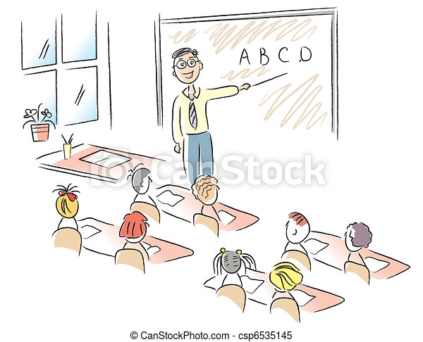 Vector classroom with teacher and school children - csp6535145