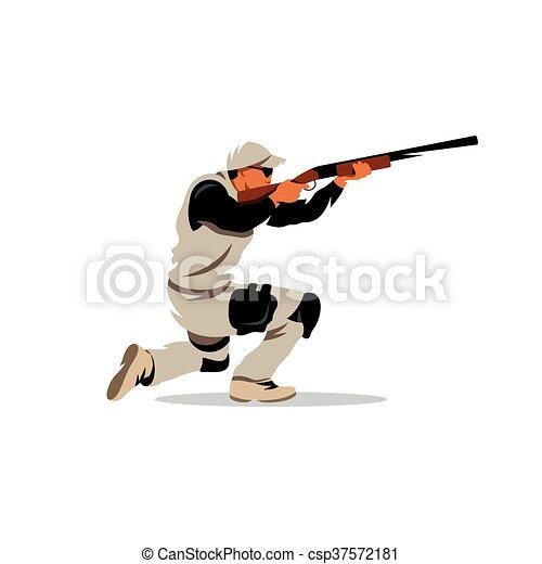 Vector Clay Shooting Cartoon Illustration. - csp37572181