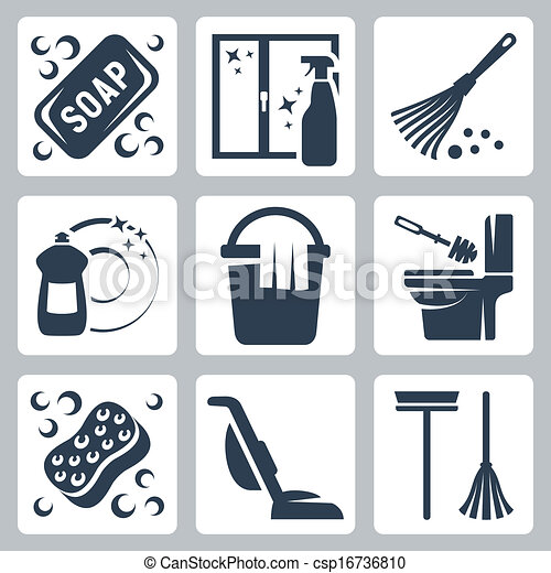 Vector cleaning icons set: soap, window cleaner, duster, dishwashing liquid, bucket and cloth, toilet brush and flush toilet, sponge, vacuum cleaner, mop - csp16736810