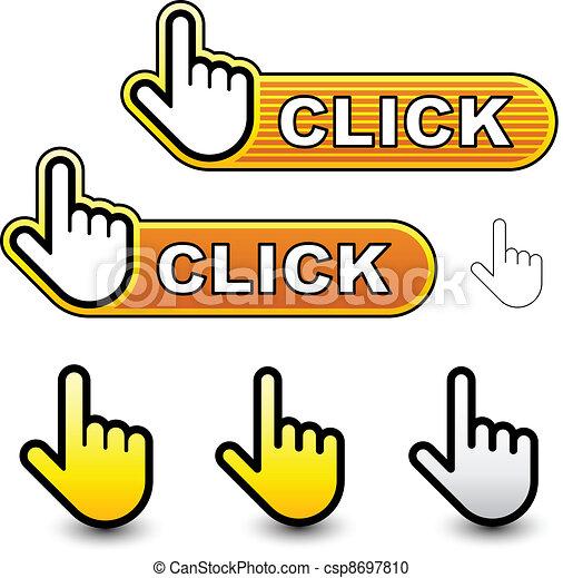 vector click hand cursor labels - csp8697810
