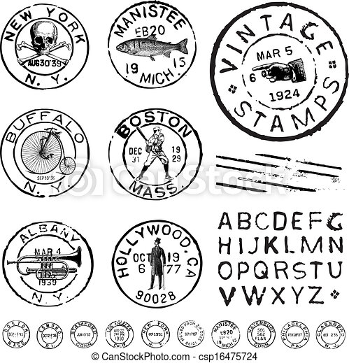 Vector Clipart Vintage Stamp and Label Set - csp16475724