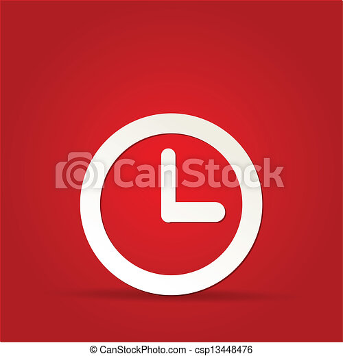 vector clock icon on red background - csp13448476