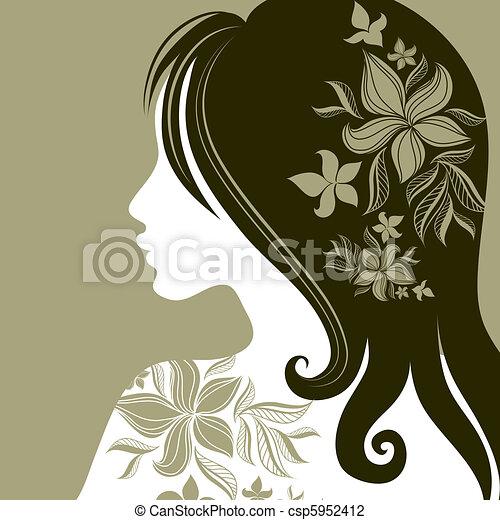 Vector closeup portrait of woman - csp5952412