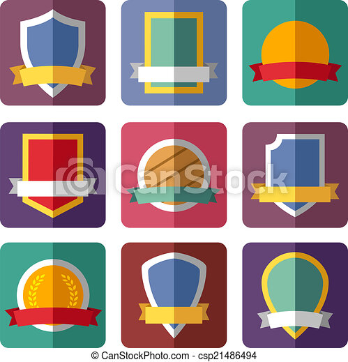 Vector coats of arms, shields, ribbons - csp21486494