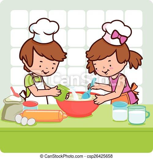 Ninos Cocinando En La Cocina Ilustracion De Vectores La