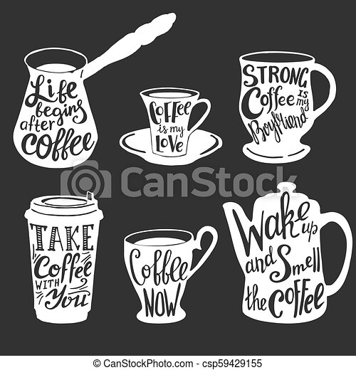 vector coffee quotes and sayings typography set vector coffee set