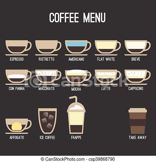 Vector Coffee Recipe Type And Menu Design In Flat Style Eps Vectors