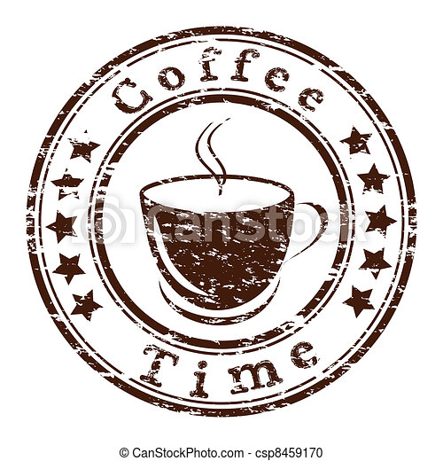 Vector coffee time grunge stamp with a cup - csp8459170