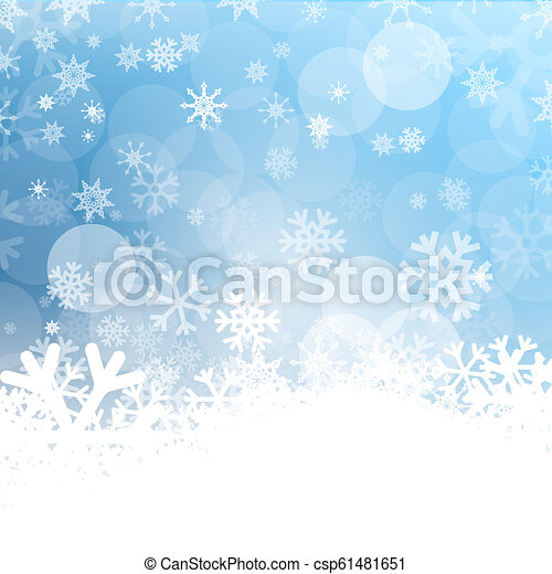 Vector Cold Background. Frozen Winter Design with Snowflakes. Blue and White Ice Pattern. Frost Symbol. - csp61481651