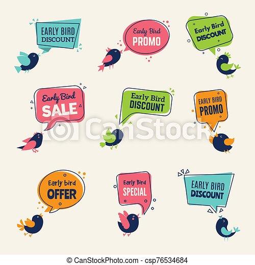 vector, colección, insignias, publicidad, ofertas, bird., descuentos, temprano, especial, etiquetas, señales, aves - csp76534684