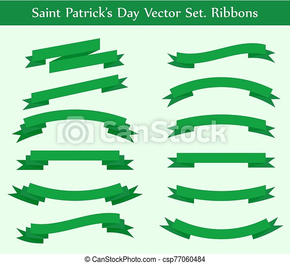 vector collection: green ribbons - csp77060484