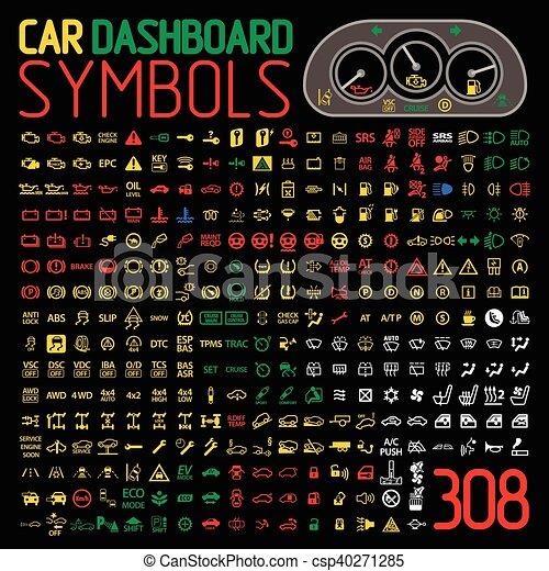 vector collection of car dashboard panel indicators and warning lights - csp40271285