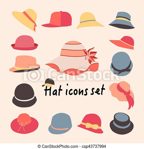 beauty official images fashion styles Vector collection of hats for men and women